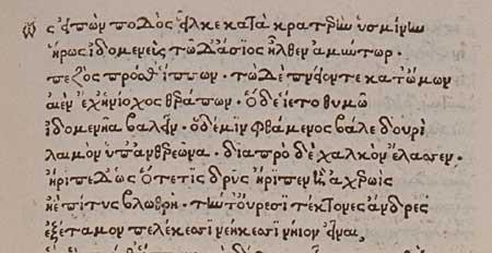 Primeros versos del manuscrito: Iliada 13.338