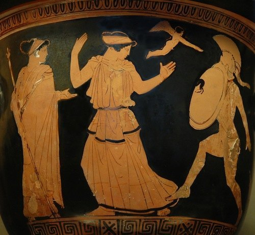 Menelao desiste de matar a Helena, cratera de figuras rojas (Museo del Louvre G424).