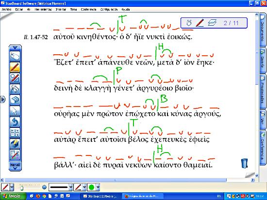 Texto de Homero con las sílabas largas y breves, pausas y zeugmas.