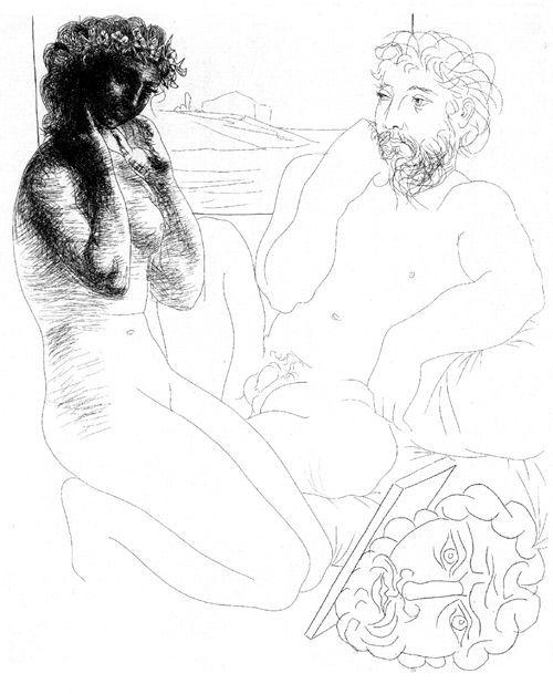 Escultor y modelo arrodillada de Pablo Picasso, grabado de la serie Suite Volard