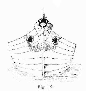 Proa de un barco con una sirena con cola doble