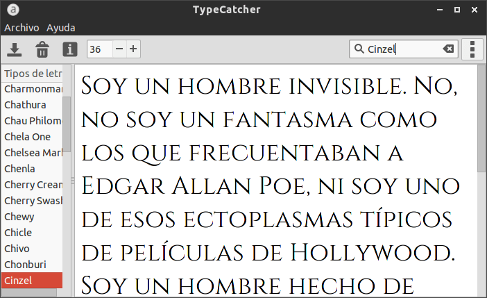 Ventana de TypeCatcher