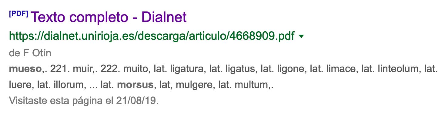 Recorte de un resultado de búsqueda en Google, con las palabras latinas «morsus» y «mulgere» juntas