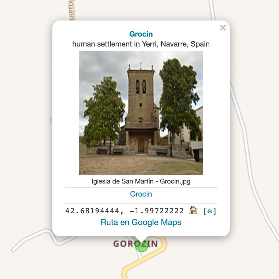 Mapa de Wikishootme con un punto verde