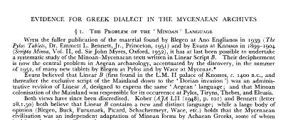 Comienzo del artículo Evidence for Greek dialect in the Mycenaean archives