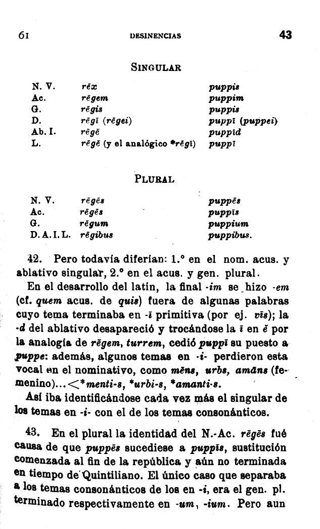 Página de A. Ernout, Morfología histórica latina (p. 43)