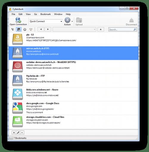 Imagen de la ventana de favoritos de Cyberduck para Windows