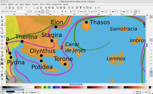 Captura de pantalla de un mapa editado con Inkscape