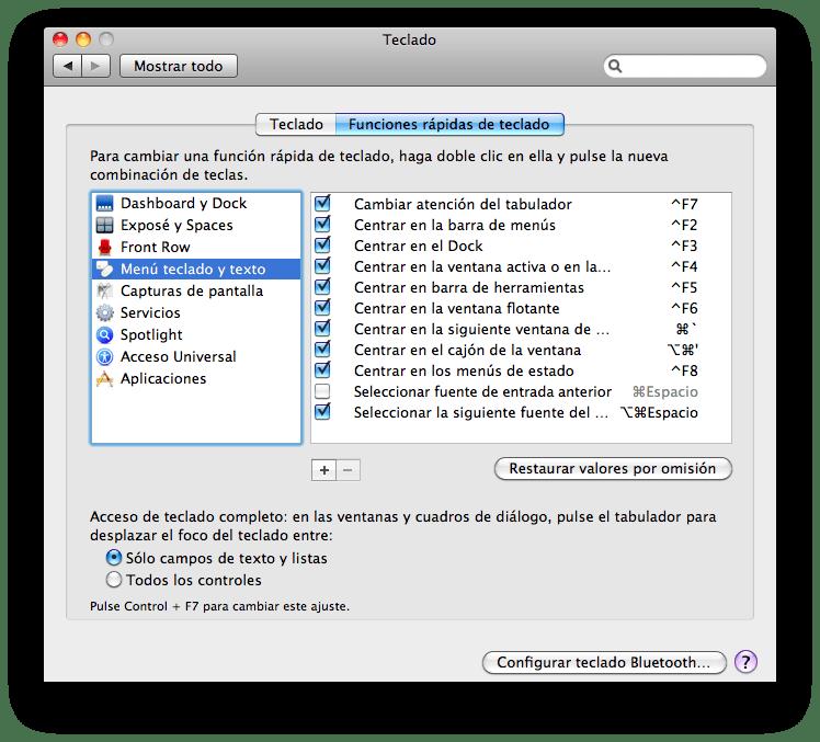 Panel de control Teclado: Menú teclado y texto