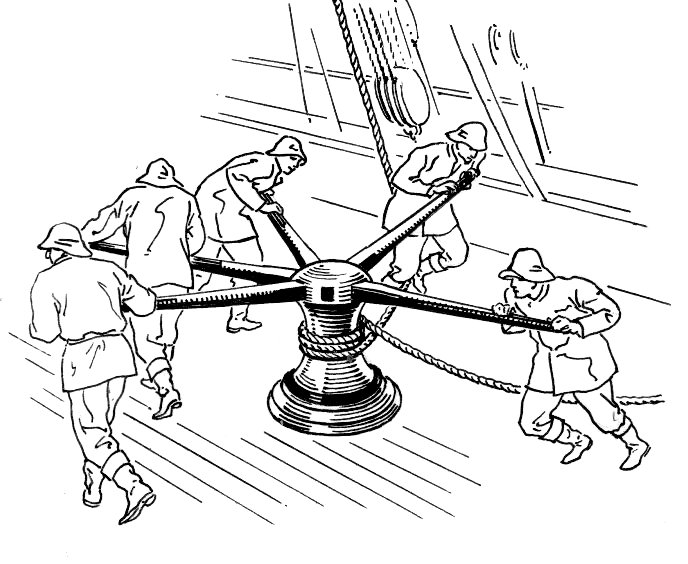 Dibujo de un cabrestante accionado por cinco marineros