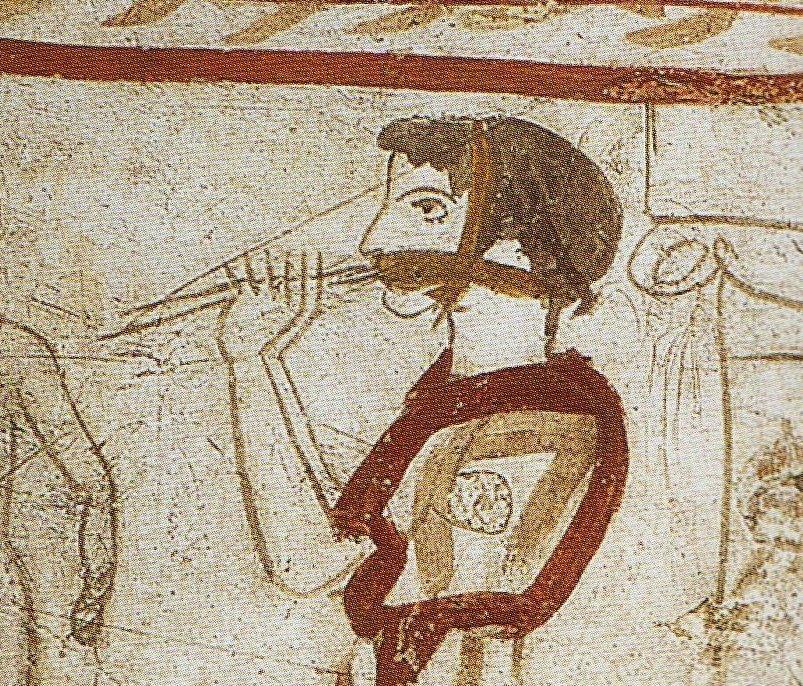 Flautista de la tumba de las granadas (detalle)