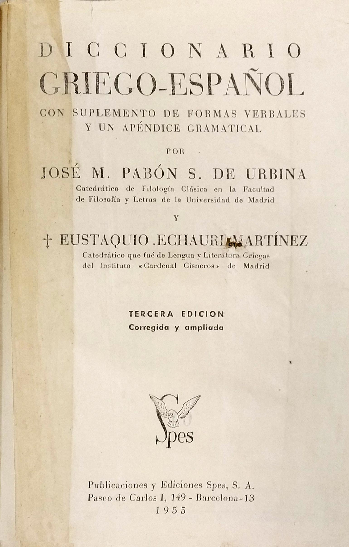 Portada interior del Diccionario de Griego de Pabón y Echauri