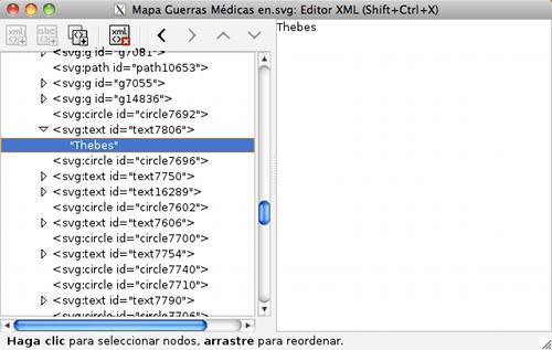 Árbol XML de un documento svg editado con Inkscape